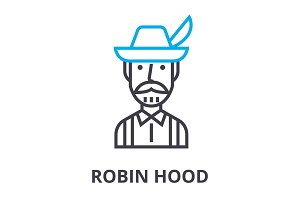 robin hood thin line icon, sign, symbol, illustation, linear concept, vector