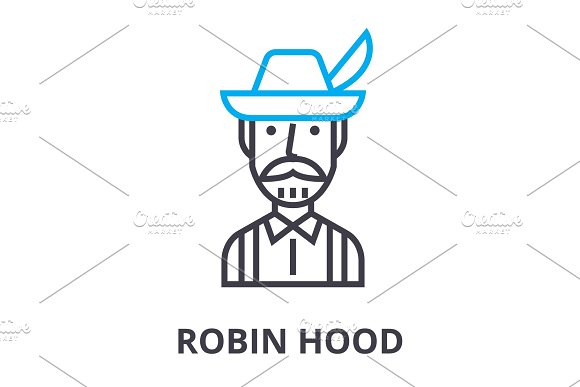 Robin Hood Thin Line Icon Sign Symbol Illustation Linear Concept Vector