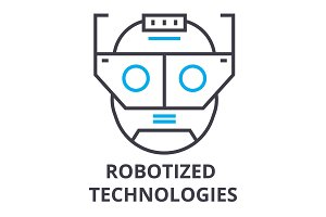robotized technologies thin line icon, sign, symbol, illustation, linear concept, vector