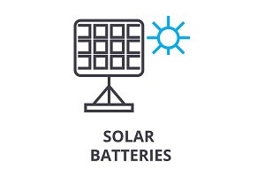 solar batteries thin line icon, sign, symbol, illustation, linear concept, vector