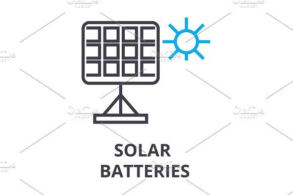 Solar Batteries Thin Line Icon Sign Symbol Illustation Linear Concept Vector
