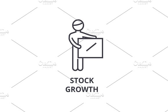 Stock Growth Thin Line Icon Sign Symbol Illustation Linear Concept Vector