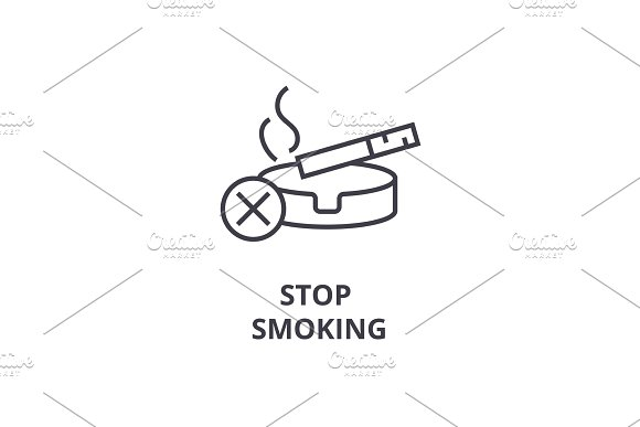 Stop Smoking Thin Line Icon Sign Symbol Illustation Linear Concept Vector