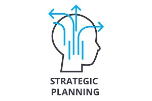 strategic planning thin line icon, sign, symbol, illustation, linear concept, vector