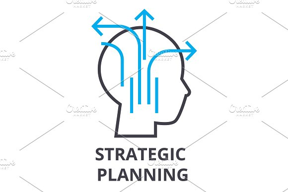 Strategic Planning Thin Line Icon Sign Symbol Illustation Linear Concept Vector