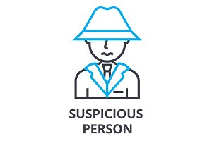 suspicious person thin line icon, sign, symbol, illustation, linear concept, vector