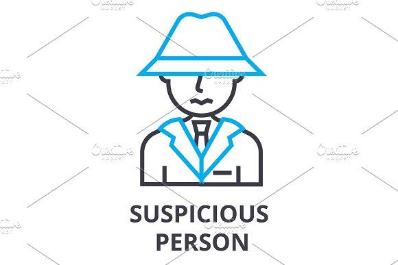 Suspicious Person Thin Line Icon Sign Symbol Illustation Linear Concept Vector