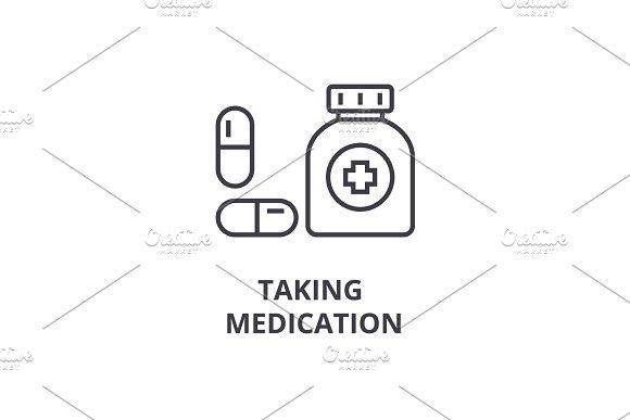 taking medication thin line icon, sign, symbol, illustation, linear concept, vector