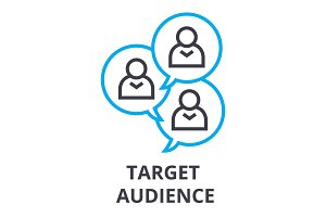 target audience thin line icon, sign, symbol, illustation, linear concept, vector