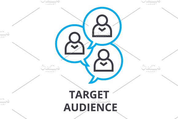 Target Audience Thin Line Icon Sign Symbol Illustation Linear Concept Vector