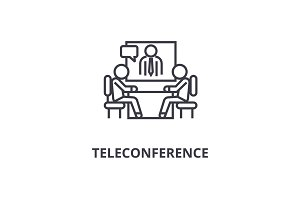 teleconference thin line icon, sign, symbol, illustation, linear concept, vector