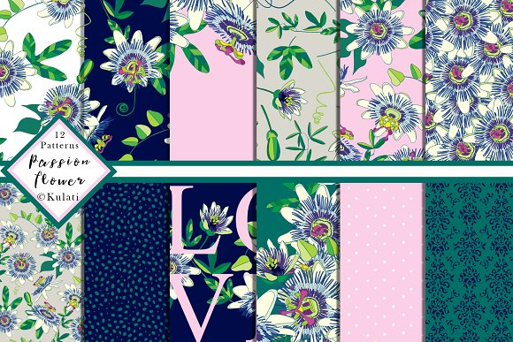 Passion Flower Digital Patterns