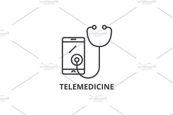 Telemedicine Thin Line Icon Sign Symbol Illustation Linear Concept Vector