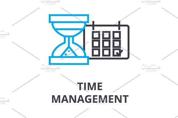 Time Management Thin Line Icon Sign Symbol Illustation Linear Concept Vector