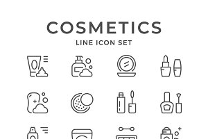 Set line icons of cosmetics
