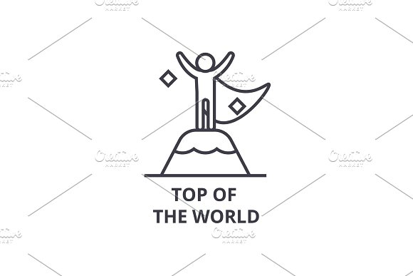 Top Of The World Thin Line Icon Sign Symbol Illustation Linear Concept Vector