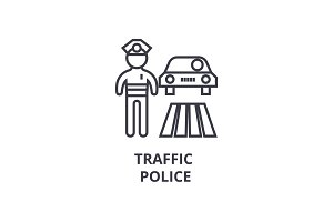 traffic police thin line icon, sign, symbol, illustation, linear concept, vector