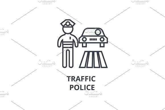 Traffic Police Thin Line Icon Sign Symbol Illustation Linear Concept Vector