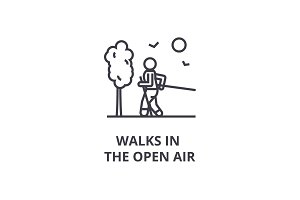 walks in the open air thin line icon, sign, symbol, illustation, linear concept, vector
