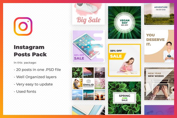 20 Instagram Posts Pack
