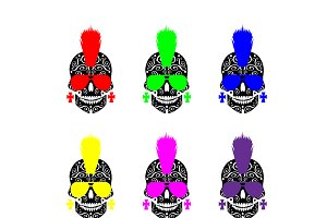 Punk skull icon set with sunglasses