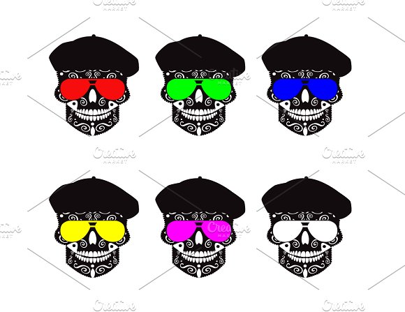 Collection Skulls With Hat And Sungl