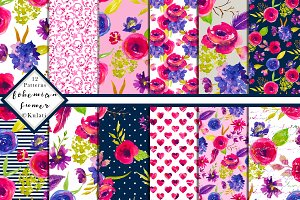 Waterolor Floral Digital Patterns