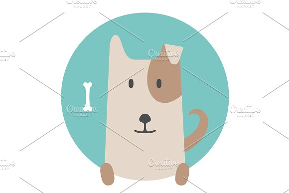 Animal Set Portrait In Flat Graphics Dog Pet