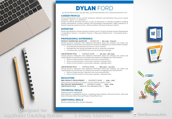 Resume Template For Word Pages