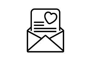 Web line icon. Love Letter. black