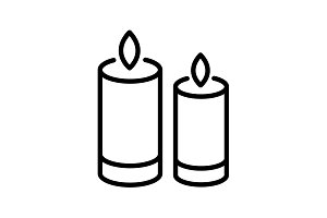 Web line icon. Two candles. black