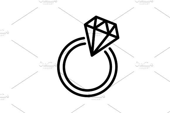 Web line icon. Diamond ring. black