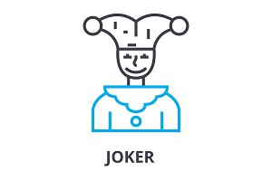 joker thin line icon, sign, symbol, illustation, linear concept, vector