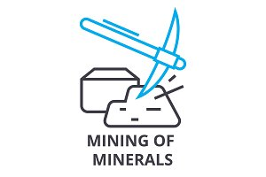 mining of minerals thin line icon, sign, symbol, illustation, linear concept, vector