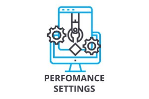 perfomance settings thin line icon, sign, symbol, illustation, linear concept, vector