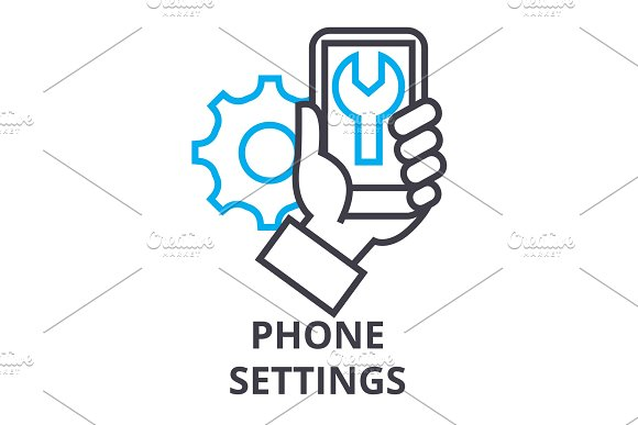 phone settings thin line icon, sign, symbol, illustation, linear concept, vector