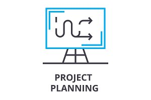project planning thin line icon, sign, symbol, illustation, linear concept, vector