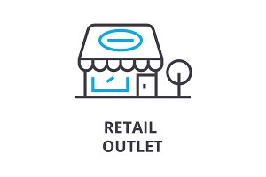 retail outlet thin line icon, sign, symbol, illustation, linear concept, vector