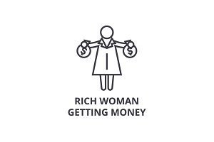 rich woman getting money thin line icon, sign, symbol, illustation, linear concept, vector