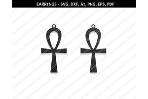 Cross earring,svg,dxf,ai,eps,png,pdf