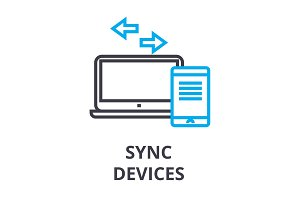sync devices thin line icon, sign, symbol, illustation, linear concept, vector