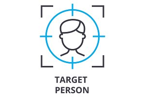 target person thin line icon, sign, symbol, illustation, linear concept, vector