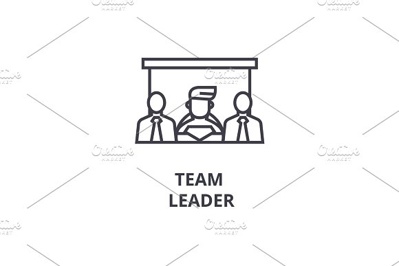 Team Leader Thin Line Icon Sign Symbol Illustation Linear Concept Vector