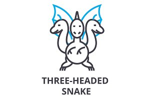 three headed snake thin line icon, sign, symbol, illustation, linear concept, vector