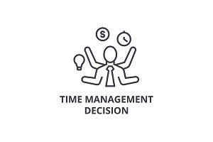 time management decision thin line icon, sign, symbol, illustation, linear concept, vector