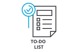to do list thin line icon, sign, symbol, illustation, linear concept, vector