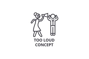 too loud concept thin line icon, sign, symbol, illustation, linear concept, vector
