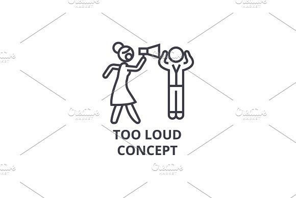 Too Loud Concept Thin Line Icon Sign Symbol Illustation Linear Concept Vector