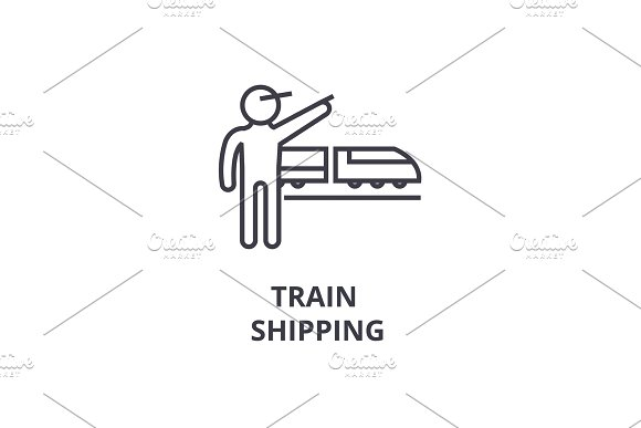 Train Shipping Thin Line Icon Sign Symbol Illustation Linear Concept Vector
