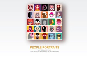 People Portraits vector pop art